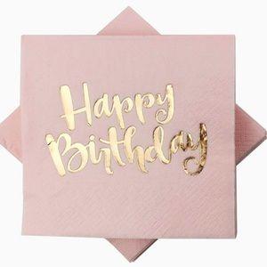 Pink Happy Birthday Rose Gold Napkins
